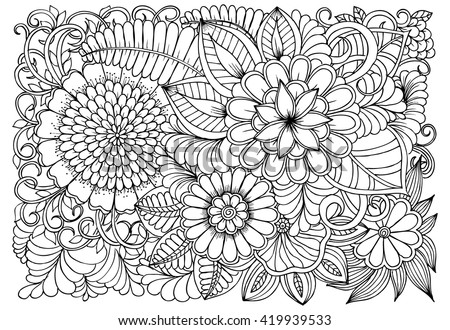 Flowers black white coloring doodle art stock vector 419939533 flowers in black and white for coloring doodle art pattern mightylinksfo