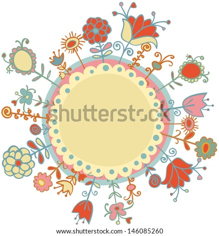 Flowers in circle vector illustration - stock vector