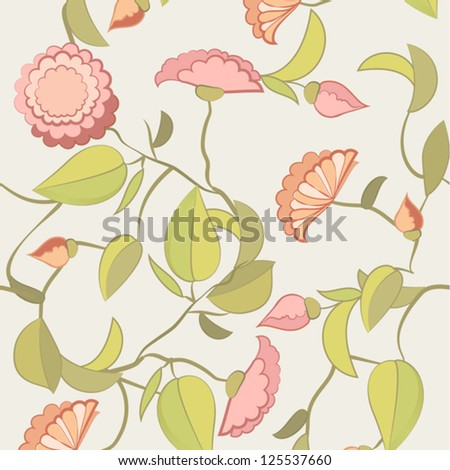 Flowers in floral pattern. - stock vector