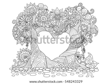 Dragon Heart Flower Coloring Coloring Pages