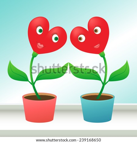 Flowers in love. Valentine's day concept. Two heart shaped pot flowers on a windowsill looking to each other with love, vector EPS 8. - stock vector