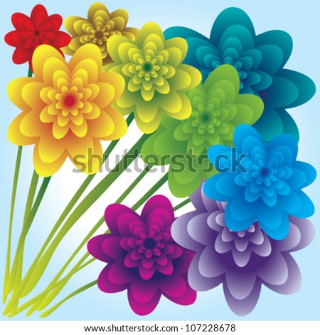 flowers in rainbow colors
