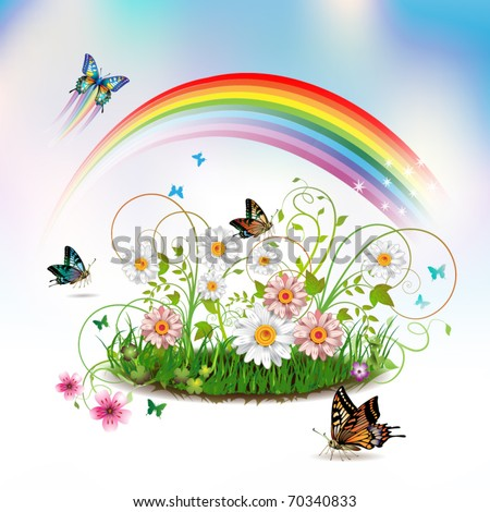 Flowers in the grass and butterflies, vector illustration - stock vector
