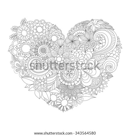 Flowers Heart Shape Pattern Coloring Book Stock Vector 343564580 ...