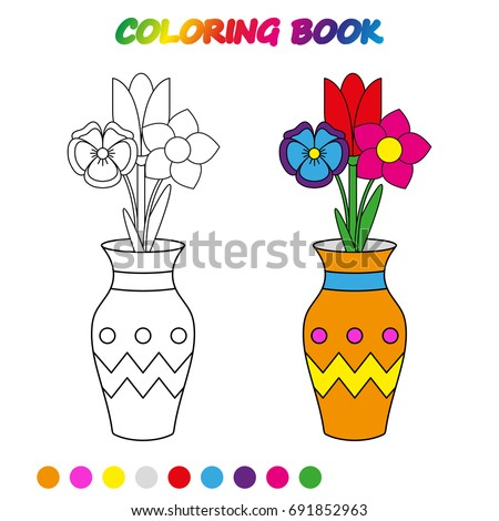 FLOWERS In Vase   Coloring Page. Worksheet. Game For Kids   Coloring Book.