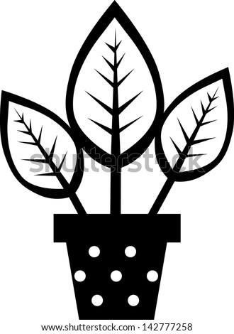 flowers in vase  silhouettes style - stock vector