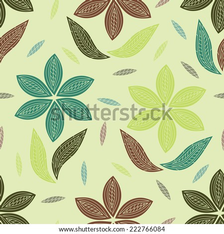 Flowers. Leaves. Foliage background. Floral seamless pattern. - stock vector