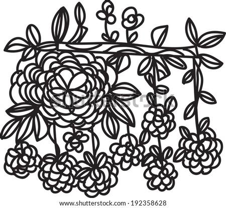 flowers line art illustration doodle style vector file tree branch flower black line art - stock vector