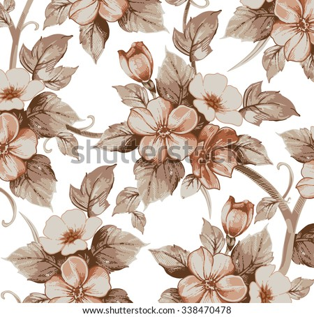 Flowers of Apple. Drawing, engraving. Freehand drawing realistic. Beautiful  background with blooming flowers. White pink flowers victorian. Floral baroque. Vintage vector stock illustration textile. - stock vector
