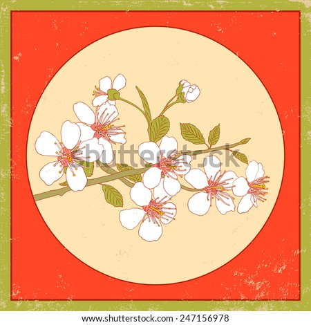 Flowers of the cherry blossoms on a vintage background - stock vector