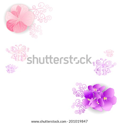 flowers of violet and spiral butterfly on a white background vector