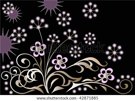 Flowers on a black background - stock vector