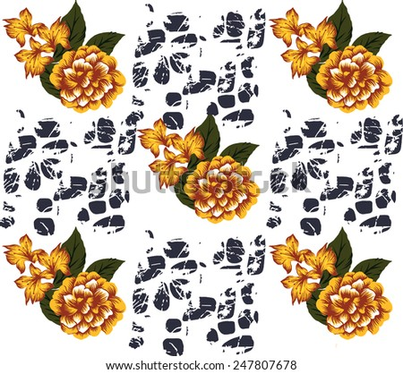 Flowers on Abstract background.beautiful fabric designs. - stock vector