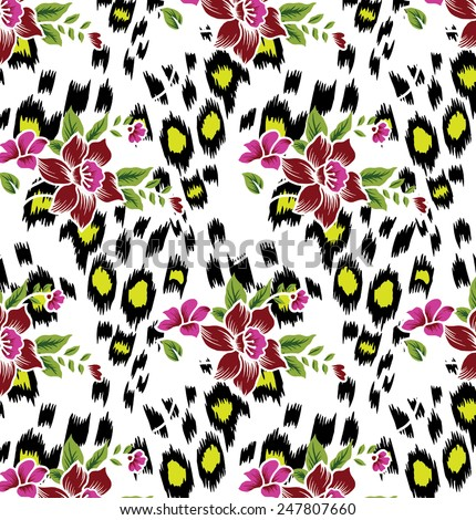 Flowers on Abstract background design with tiger stripes.