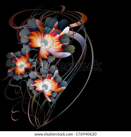 Flowers on bright a background - stock vector