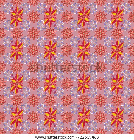 Flowers on neutral, red and violet colors. Vector floral pattern in doodle style with flowers. Gentle, spring floral background.