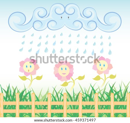 Flowers on rainy day. Weed, flowers and fence. Environment design for earth day.