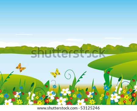 Flowers on the river bank. Vector illustration - stock vector