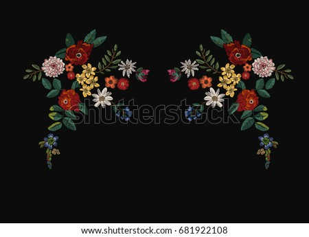 flowers patch embroidery