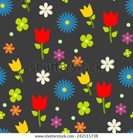 Flowers pattern, gray background, vector. - stock vector