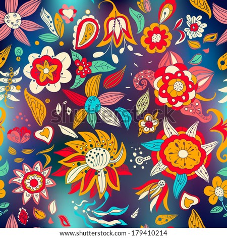 Flowers pattern on blurred background.Floral texture painted with flowers and plants,abstract flowers,floral ornament decoration,seamless wallpaper.Romantic doodle floral background. - stock vector