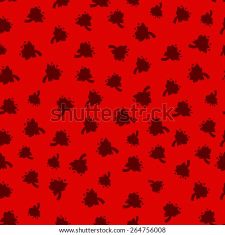 Flowers pattern on red background. Vector seamless pattern. - stock vector