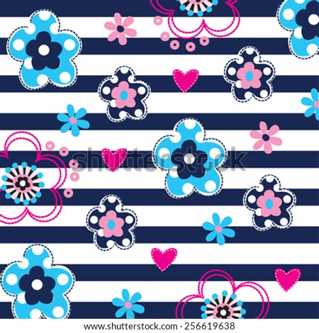 flowers pattern on striped background vector illustration - stock vector