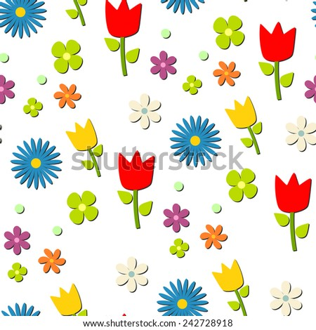 Flowers pattern with shadow, transparent background, vector. - stock vector