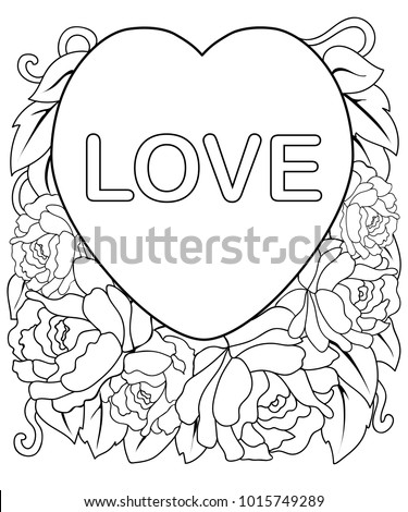 Flowers Postcard Valentines Day Coloring Page Stock Vector ...