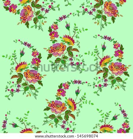 Flowers - seamless pattern - stock vector