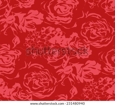 Flowers seamless pattern with romantic roses. - stock vector