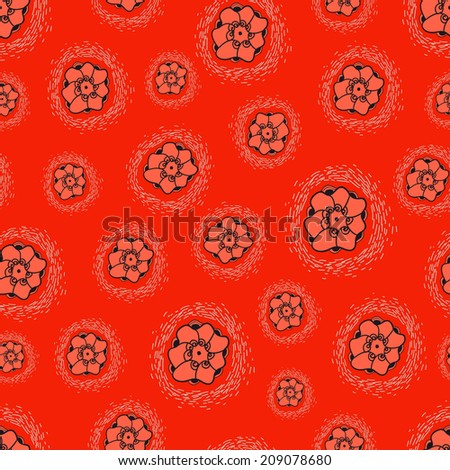 Flowers seamless texture on red background. Vector backdrop. Use for wallpaper, pattern fills, web page background.