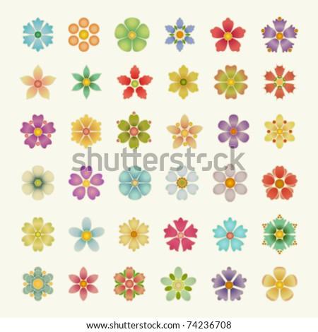 Flowers set. . Vector illustration Eps 10. - stock vector
