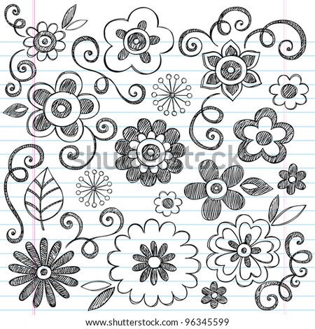 Flowers Sketchy Doodles Hand-Drawn Back to School Notebook Vector Illustration Design Elements on Lined Sketchbook Paper Background - stock vector