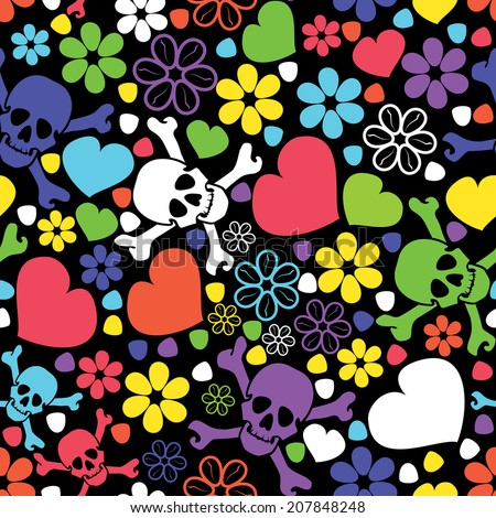 Flowers, skulls and hearts - seamless pattern - stock vector