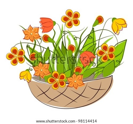 Flowers - spring basket arrangements  - vector illustration - stock vector