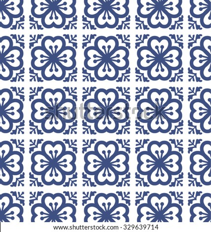Flowers tiles pattern background geometric style. classic and elegant vector file. For fashion, prints,textile, branding projects, craft, website design and more... - stock vector