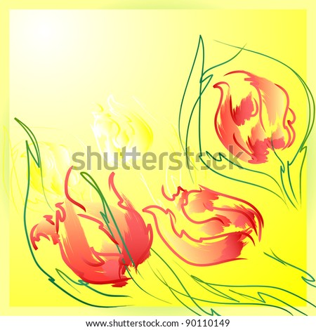 Flowers tulips with leaves . Floral background, greeting card.