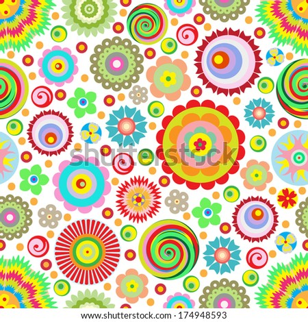 flowers, vector, abstract seamless pattern, endless floral background Designs can be use for fashion, mass print production, advertising, web and other various applications.