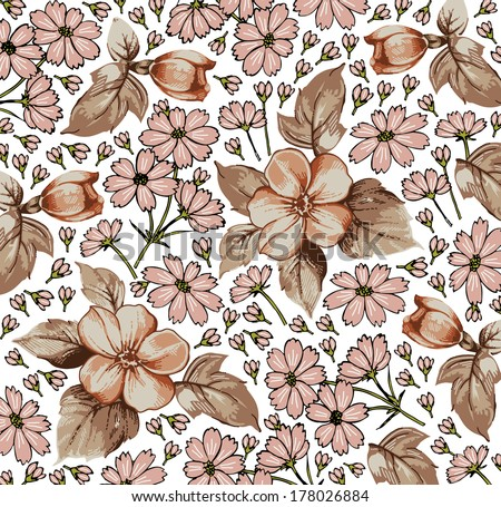 Flowers. Vector. Beautiful background with a flower ornament. Bouquets from flowers.