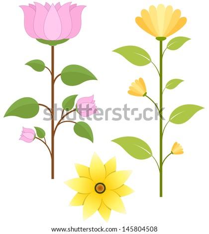 Flowers Vector Designs - stock vector