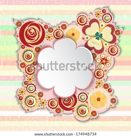 Flowers, vector, floral composition with place for text, paint texture
