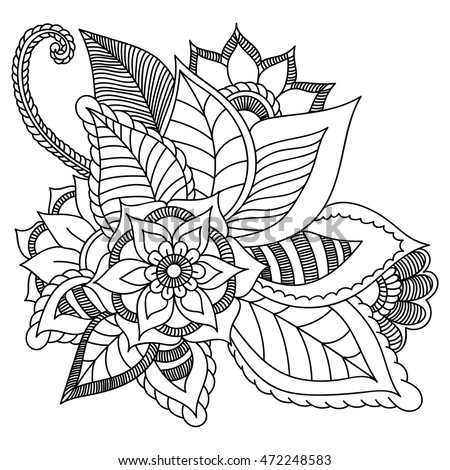 Flowers Vector Doodle Zentangle Ethnic Coloring