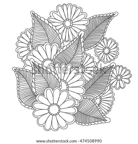 Flowers Vector Flowers Doodle Flowers Zentangle Stock Vector ...