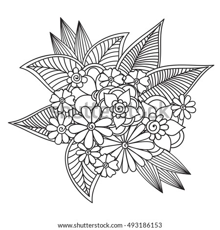 Coloring Flowers Pictures Simple Vector Doodle Zentangle Ethnic With