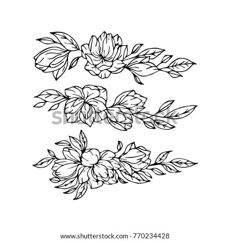 Flowers vector illustration. Birthday card. Hand-drawing floral art with flower, element for design. Spring symbol for your web site design, logo, art, app. Sketch flower illustration for design menu.