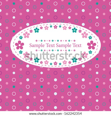 flowery greeting card on purple polka dot pattern