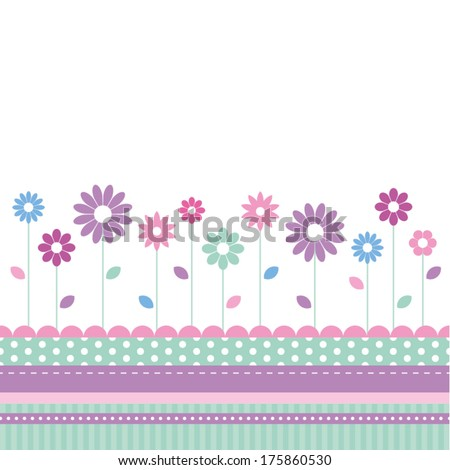 flowery meadow greeting card - stock vector