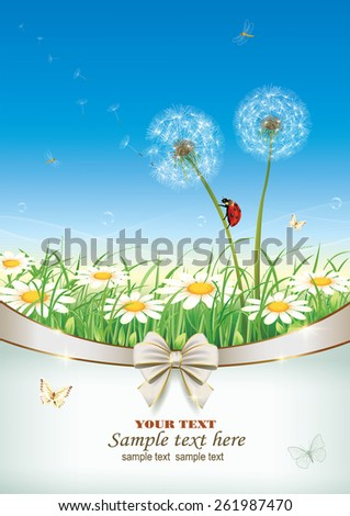 Flowery meadow with daisies - stock vector