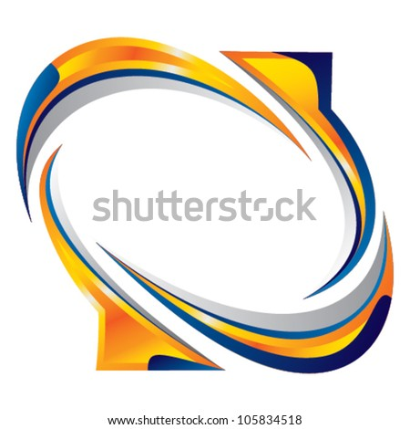 flowing arrow wheel - banner - stock vector